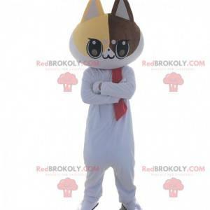 Maskot bílá kočka. Kostým bílé kočky. Kočičí cosplay -