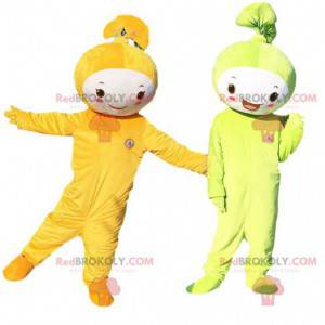 2 maskoter, en grønn og en oransje. Cosplay-ark - Redbrokoly.com
