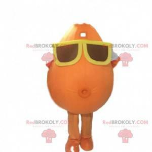 Maskot sněhuláka s brýlemi. Oranžový bramborový kostým -