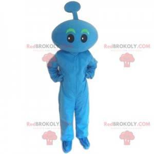 Blue mascot. Blue snowman, blue character. Blue costume -