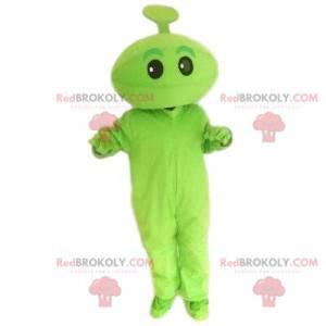 Zelený maskot. Zelené stvoření, zelený znak. Zelený kostým -