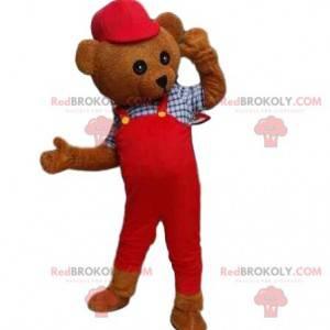 Maskot kostýmu medvídka. Kostým medvěd hnědý v montérkách -
