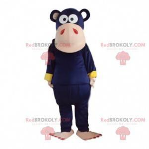 Purple monkey mascot. Colorful chimpanzee costume disguise -