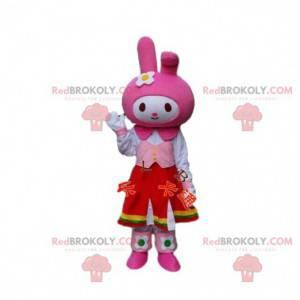 Kaninchen Kostüm Maskottchen. Rosa Häschenkostüm. Cosplay Hase