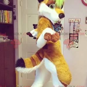 White and green brown fox mascot - Redbrokoly.com