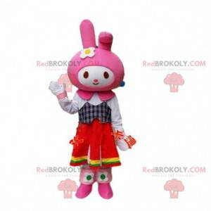 Maskot kostýmu králíka. Růžový kostým zajíčka. Cosplay zajíček