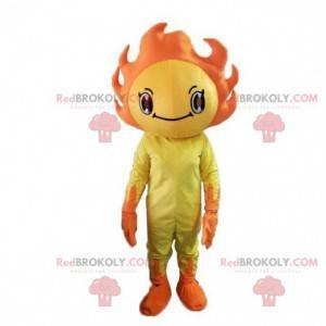 Żółty i pomarańczowy kostium maskotka słońce. Kostium wiosenny
