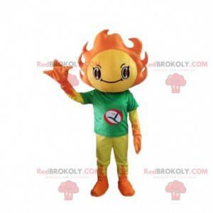 Maskot kostýmu žluté a oranžové slunce. Letní kostým -