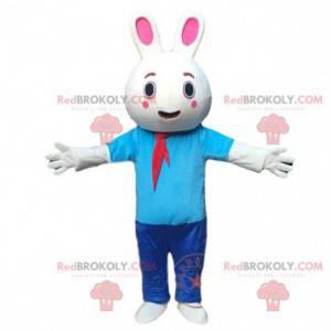 Baculatý kostým zajíček maskot oblečený v modré barvě. Bunny