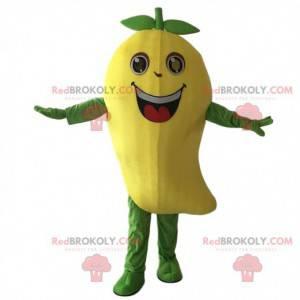Gigantisk mango kostym maskot. Gul mangofruktdrakt -