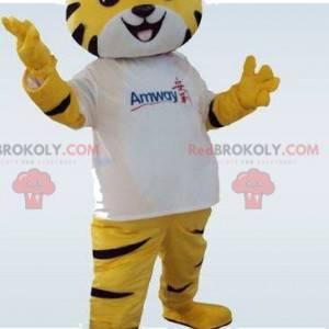 Gelbes Tiger Maskottchen. Tigerkostüm. Tigerkostüm -