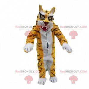 Gul og hvit tiger kostym maskot. Heftig forkledning -