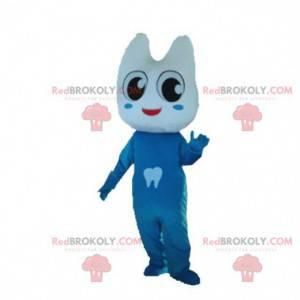 Maskot kostýmu obrovský zub oblečený v modré barvě. Zubní oblek