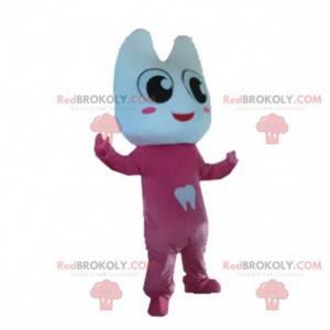 Maskotka kostium gigantyczny ząb ubrany na różowo. Kombinezon