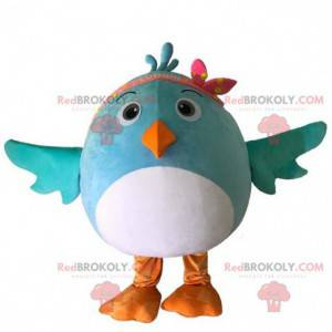 White and blue bird costume mascot, round and cute -