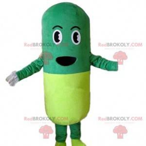 Maskot kostým pilulka. Zelený a žlutý kostým tuleně -