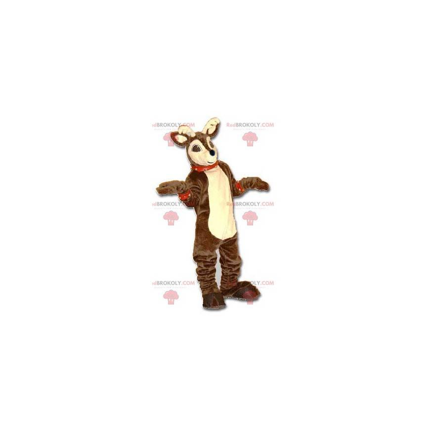Brown and beige Christmas reindeer mascot - Redbrokoly.com