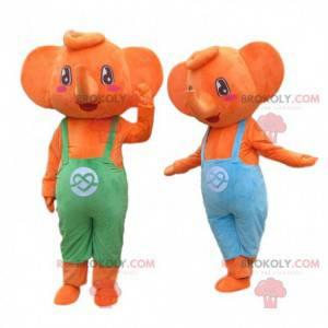 2 oransje elefantmaskoter i kjeledress. Elefantkostymer -