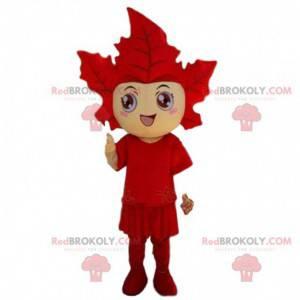 Maskot maskování obří červený list. Cosplay listový strom -