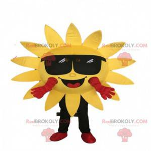 Maskot žluté sluneční kostým s brýlemi. Obří slunce -