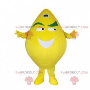 Giant yellow lemon costume mascot. Smiling lemon costume -