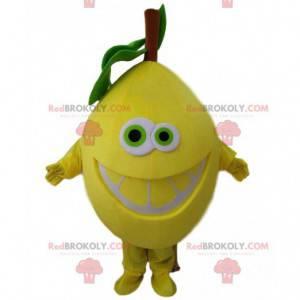 Obří žlutý citron kostým maskot. Usměvavý kostým citronu -