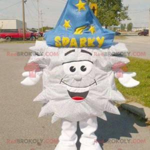 Maskot stříbrné hvězdy s kouzelnickým kloboukem - Redbrokoly.com