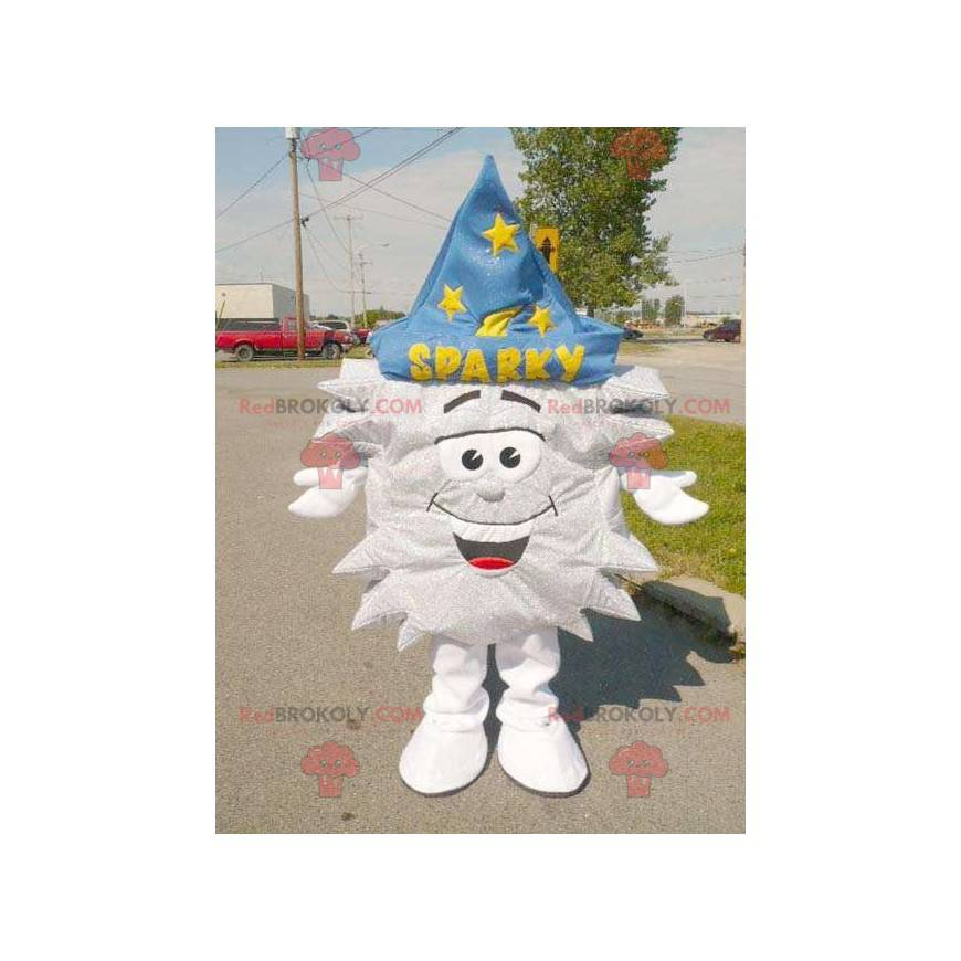 Silver star mascot with a magician's hat - Redbrokoly.com