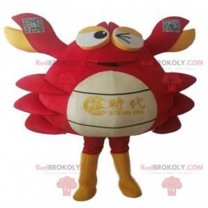 Mascota de cangrejo rojo, blanco y amarillo. Disfraz de pastel