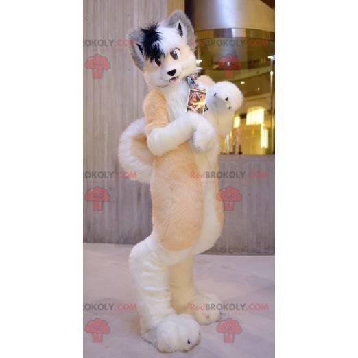 Very hairy orange white and gray dog mascot - Redbrokoly.com