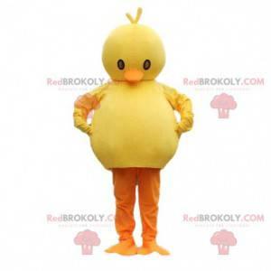 Gelbes und orange plumpes Kükenmaskottchen. Pralles Vogelkostüm