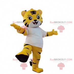Żółty i biały tygrys maskotka. Kostium żółtego tygrysa -