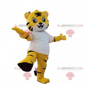 Yellow and white tiger mascot. Yellow tiger costume -