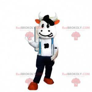 Maskottchen Kostüm weiße und schwarze Kuh mit Overalls -