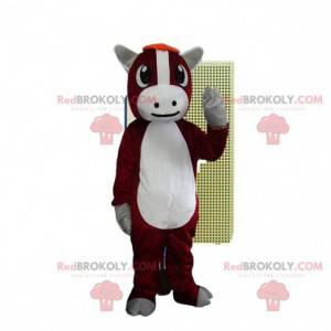 Maskot kostýmu červené a bílé krávy. Býčí kostým -