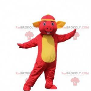 Červené prase maskot. Prase kostým. Prase kostým -