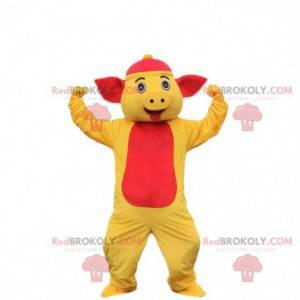 Schwein Maskottchen Kostüm gelbes und rotes Schwein.