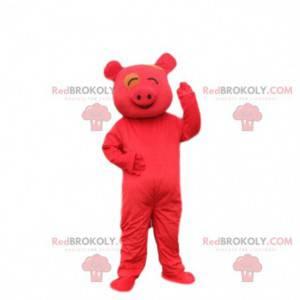 Rotes Schweinekostüm, Schweinemaskottchen, asiatisches Kostüm -