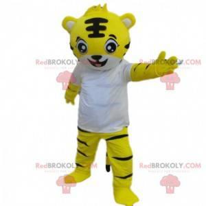 Tiger costume, yellow tiger mascot, feline costume -