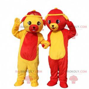 2 dog mascots, dog costumes, dog costumes - Redbrokoly.com