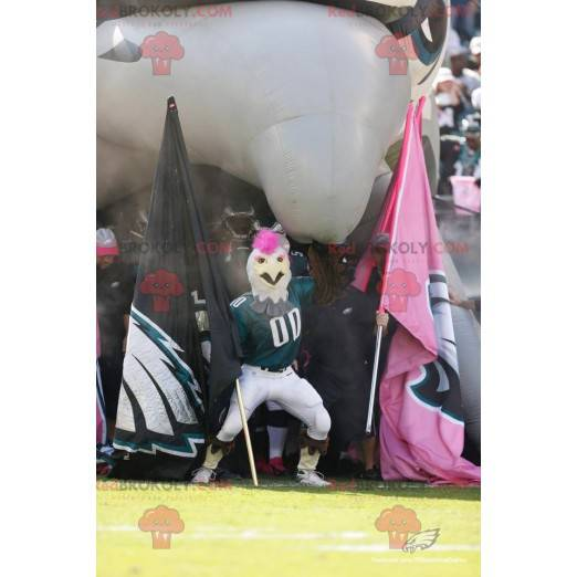 Mascot white rooster with a pink crest and sportswear -