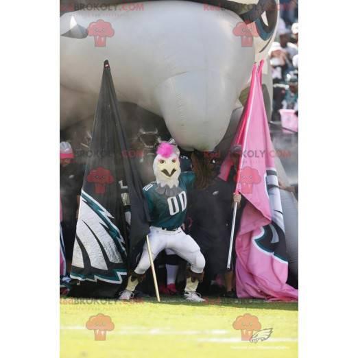 Maskot bílý kohout s růžovým hřebenem a sportovním oblečením -