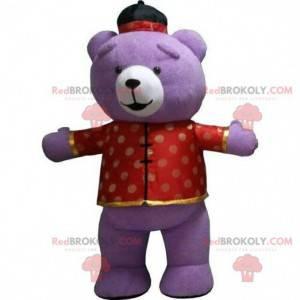 Großes lila Teddybärmaskottchen, Bärenkostüm, Plüschkostüm -