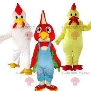 3 chicken mascots, chicken costumes, bird costume -