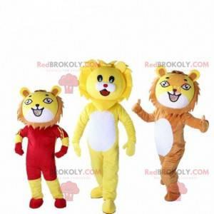 3 Löwenmaskottchen, Katzenkostüm, Dschungelkostüm -