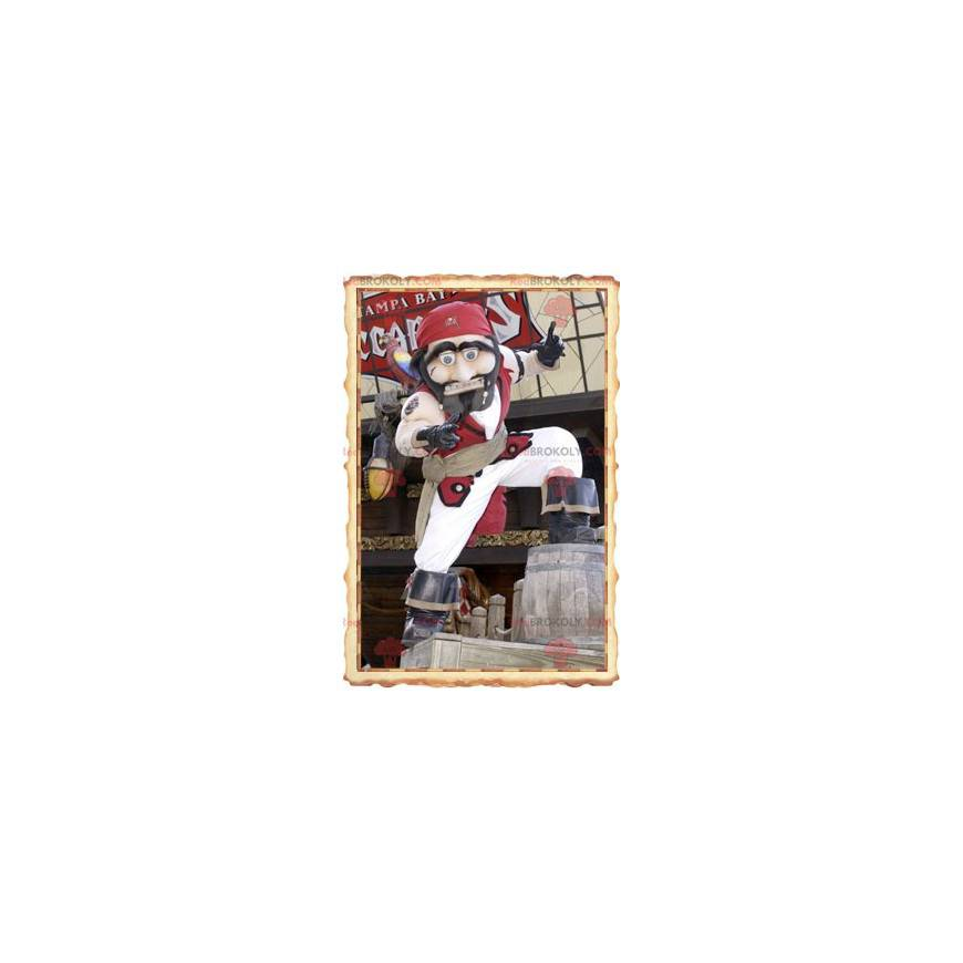 Pirate mascot in traditional white and red outfit -