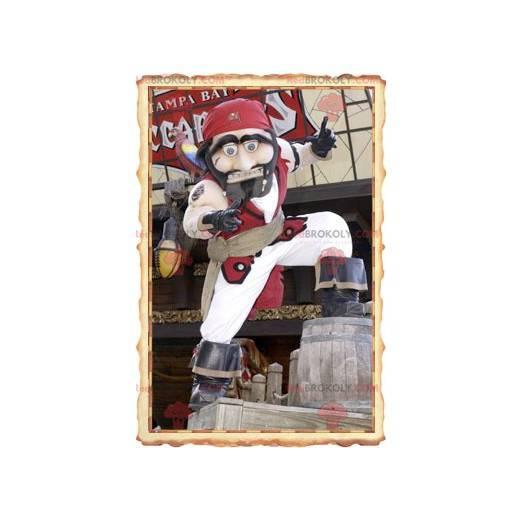 Piratenmaskottchen im traditionellen weißen und roten Outfit -
