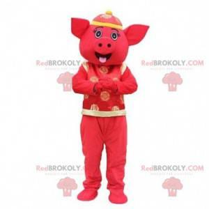 Asiatisches Schweinemaskottchen, asiatisches Kostüm, rotes