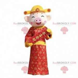 Laughing pig mascot, expressive mascot, pig costume -