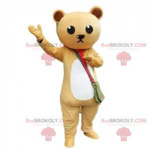 Maskot béžového a bílého medvídka, kostým medvídka -